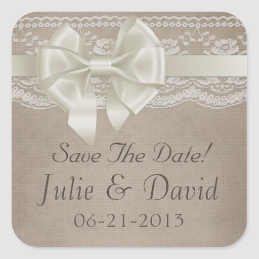 Rustic Vintage Burlap & Lace Wedding Save The Date Square Stickers