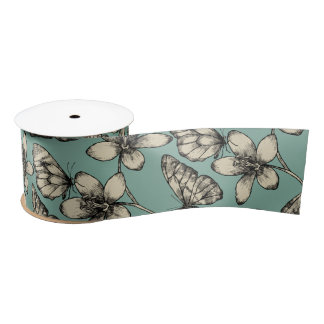 Rustic vintage butterfly and flowers on turquoise satin ribbon