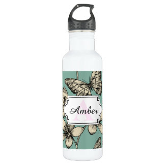 Rustic vintage butterfly and flowers on turquoise stainless steel water bottle