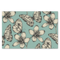 Rustic vintage butterfly and flowers on turquoise tissue paper