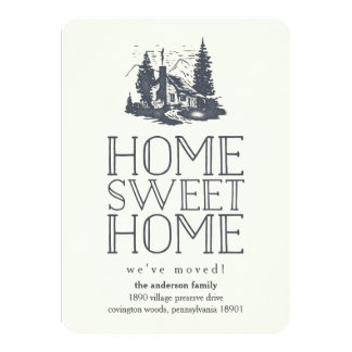 Rustic Vintage Cabin Moving Announcement