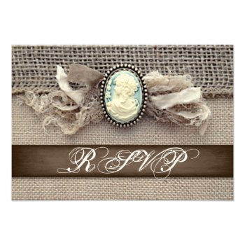 Rustic Vintage Cameo Brooch Burlap Wedding RSVP