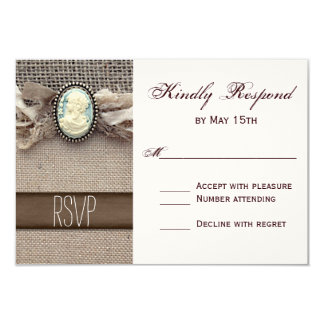 Rustic Vintage Cameo Brooch Burlap Wedding RSVP Card