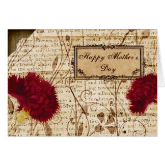 Rustic vintage carnations , mother's day greetings greeting card