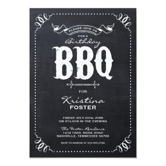 Rustic Vintage Chalkboard Birthday Party BBQ 5x7 Paper Invitation Card