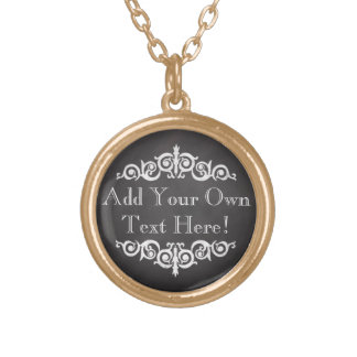 Rustic Vintage Chalkboard Custom Personalized Gold Plated Necklace