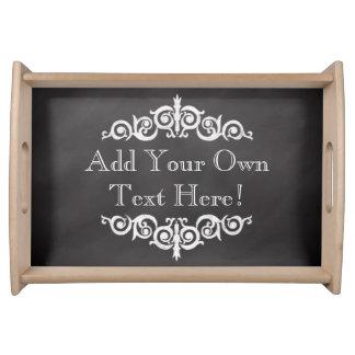 Rustic Vintage Chalkboard Custom Personalized Serving Tray