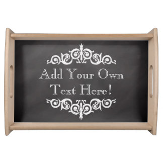 Rustic Vintage Chalkboard Custom Personalized Serving Tray