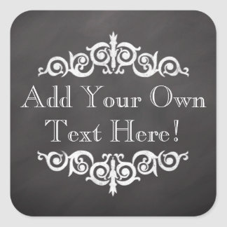 Rustic Vintage Chalkboard Custom Personalized Square Sticker