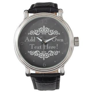Rustic Vintage Chalkboard Custom Personalized Wristwatch
