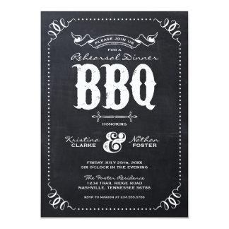 Rustic Vintage Chalkboard Rehearsal Dinner BBQ Card