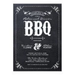 Rustic Vintage Chalkboard Rehearsal Dinner BBQ Personalized Announcements