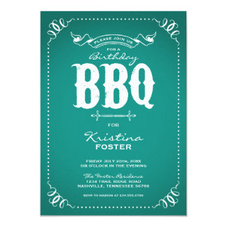 Rustic Vintage Chic Birthday Party BBQ 5x7 Paper Invitation Card