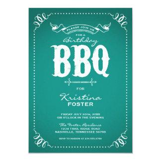 "Rustic Vintage Chic Birthday Party BBQ 5"" X 7"" Invitation Card"