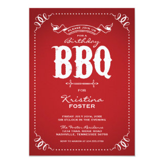 Rustic Vintage Chic Birthday Party BBQ Personalized Announcements