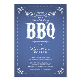Rustic Vintage Chic Birthday Party BBQ Invite