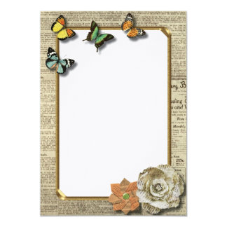 "Rustic Vintage Chic Butterflies Invitation 5"" X 7"" Invitation Card"