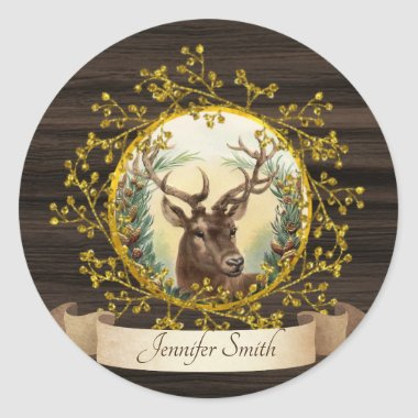 Rustic Vintage Christmas Stag Personalized Classic Round Sticker