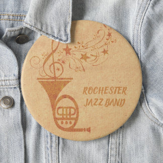 Rustic  Vintage Classical Music French Horn Band Button