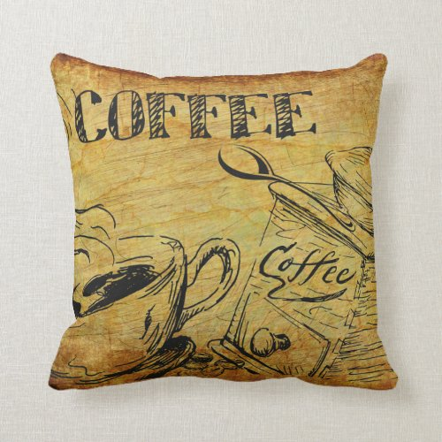 Rustic Vintage Coffee Designs Throw Pillow