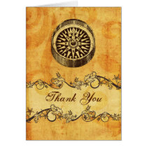 rustic, vintage ,compass nautical thank you card