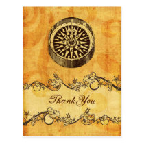 rustic, vintage ,compass nautical thank you postcard