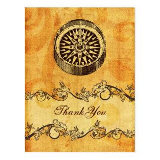 rustic, vintage ,compass nautical thank you postcard