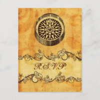 rustic, vintage ,compass nautical wedding rsvp invitation postcard