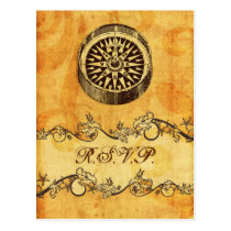 rustic, vintage ,compass nautical wedding rsvp postcard