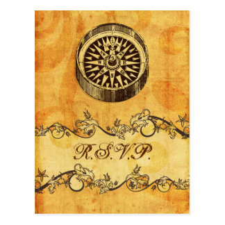 rustic, vintage ,compass nautical wedding rsvp postcard