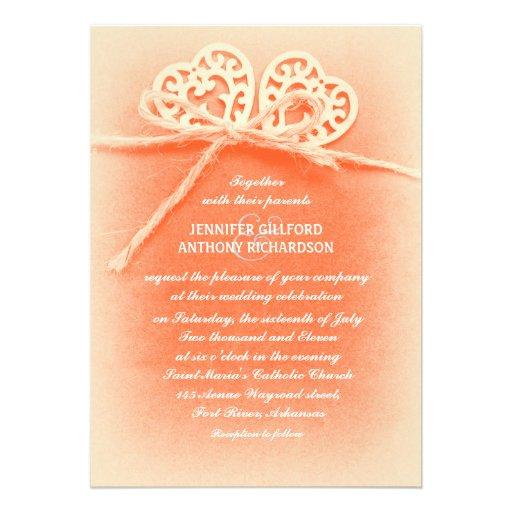 "Rustic Vintage Coral Wedding Inspiration: Rustic Vintage Coral Color Wedding Invitation 5"" X 7"