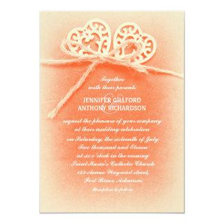 rustic vintage coral color wedding invitation