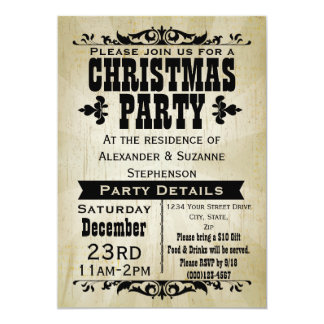 """Rustic Vintage Country Christmas Party Invitation 5"""" X 7"""" Invitation Card"""