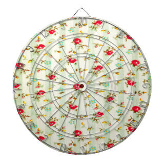 rustic vintage country floral girly chic trendy dartboard with darts