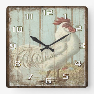 Rustic Vintage Country Rooster Kitchen Square Wall Clock