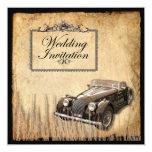 "Rustic Vintage Country Wedding Invitation 5.25"" Square Invitation Card"