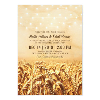 Rustic Vintage Country Wheat Corn Field Wedding Card