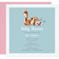 Rustic Vintage Deer Forest Floral Baby Shower Card