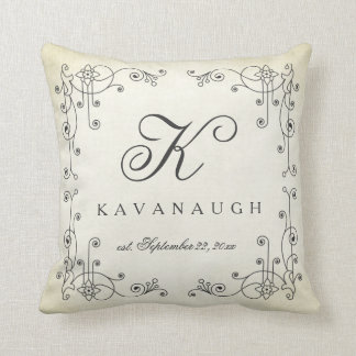Rustic Vintage Design Monogram Wedding Pillow