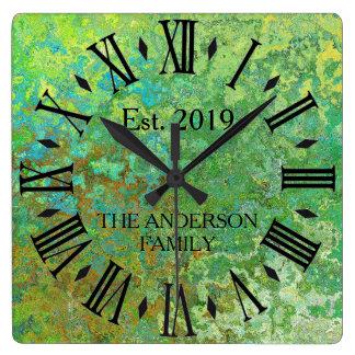 Rustic Vintage Distressed Green Metal Square Wall Clock