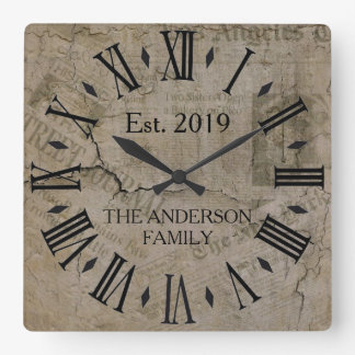 Rustic Vintage Distressed New York Times  Wall St Square Wall Clock