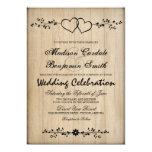 Rustic Vintage Double Hearts Wedding Invitations