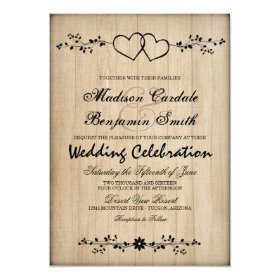 Rustic Vintage Double Hearts Wedding Invitations
