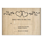 Rustic Vintage Double Hearts Wedding RSVP Cards