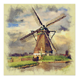 Rustic Vintage Dutch Windmill Watercolor Poster