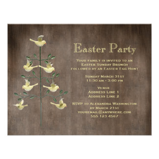 Rustic Vintage Easter Tree Birds Easter Party Invite
