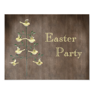 Rustic Vintage Easter Tree & Birds Easter Party 4.25x5.5 Paper Invitation Card