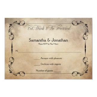 Rustic Vintage Eat, Drink Be Married RSVP 3.5x5 Paper Invitation Card