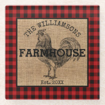 Rustic Vintage Family Name Farmhouse Rooster Plaid Glass Coaster