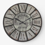 Rustic Vintage Family Name Roman Numeral Large Clock